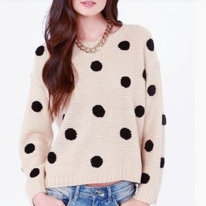 LUMIERE Dots Amore Beige Polka Dot Sweater!